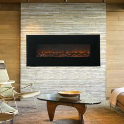 "50"" 1500W Wall Mount Electric Fireplace Heater 3D Flame Log"