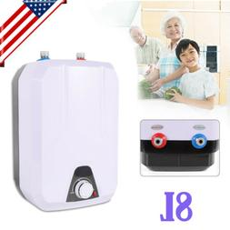 8L Electric Tankless Hot Water Heater Kitchen Bathroom Home