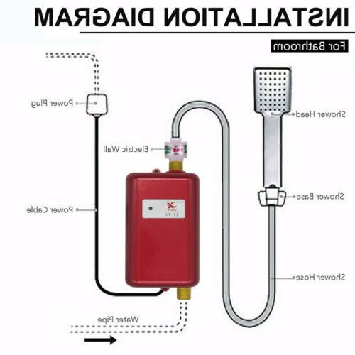 110V 3800W Tankless Instant Water Shower Kitchen Tap Faucet