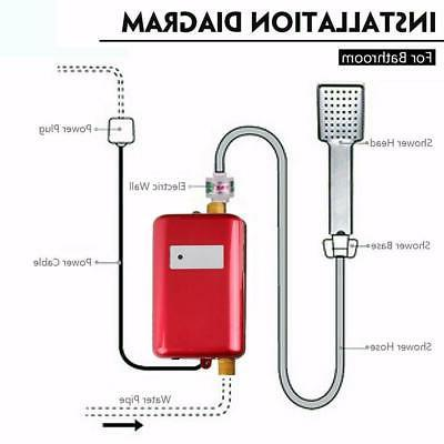3000W 110V Electric Tankless Water Heater Sink Bathroom