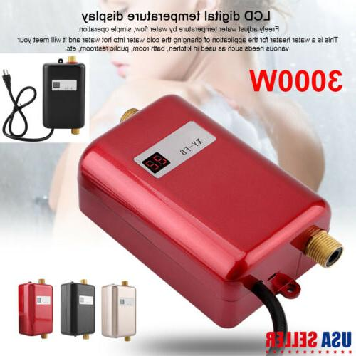 3000W Tankless Instant Electric Hot Water Heater Kitchen Bathroom Shower
