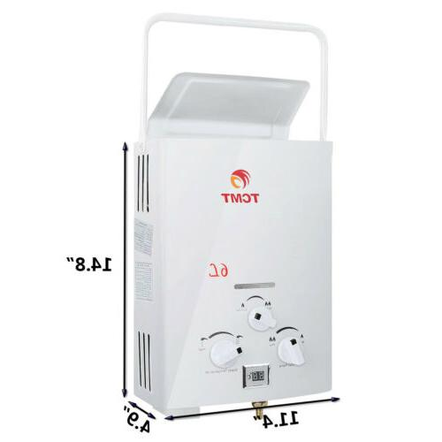 Portable 6L 1.6GPM Gas Propane Tankless Water Outdoor