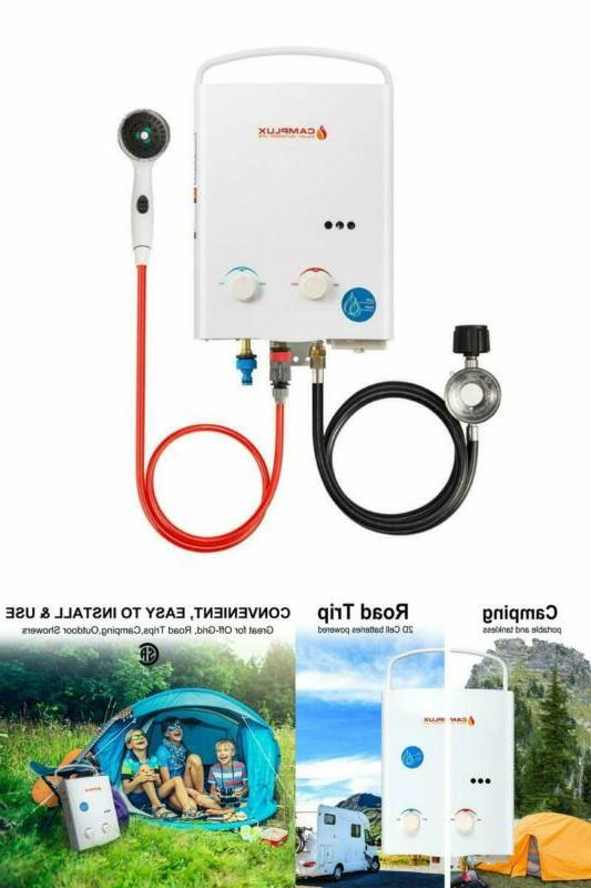 outdoor portable propane tankless water heater camp