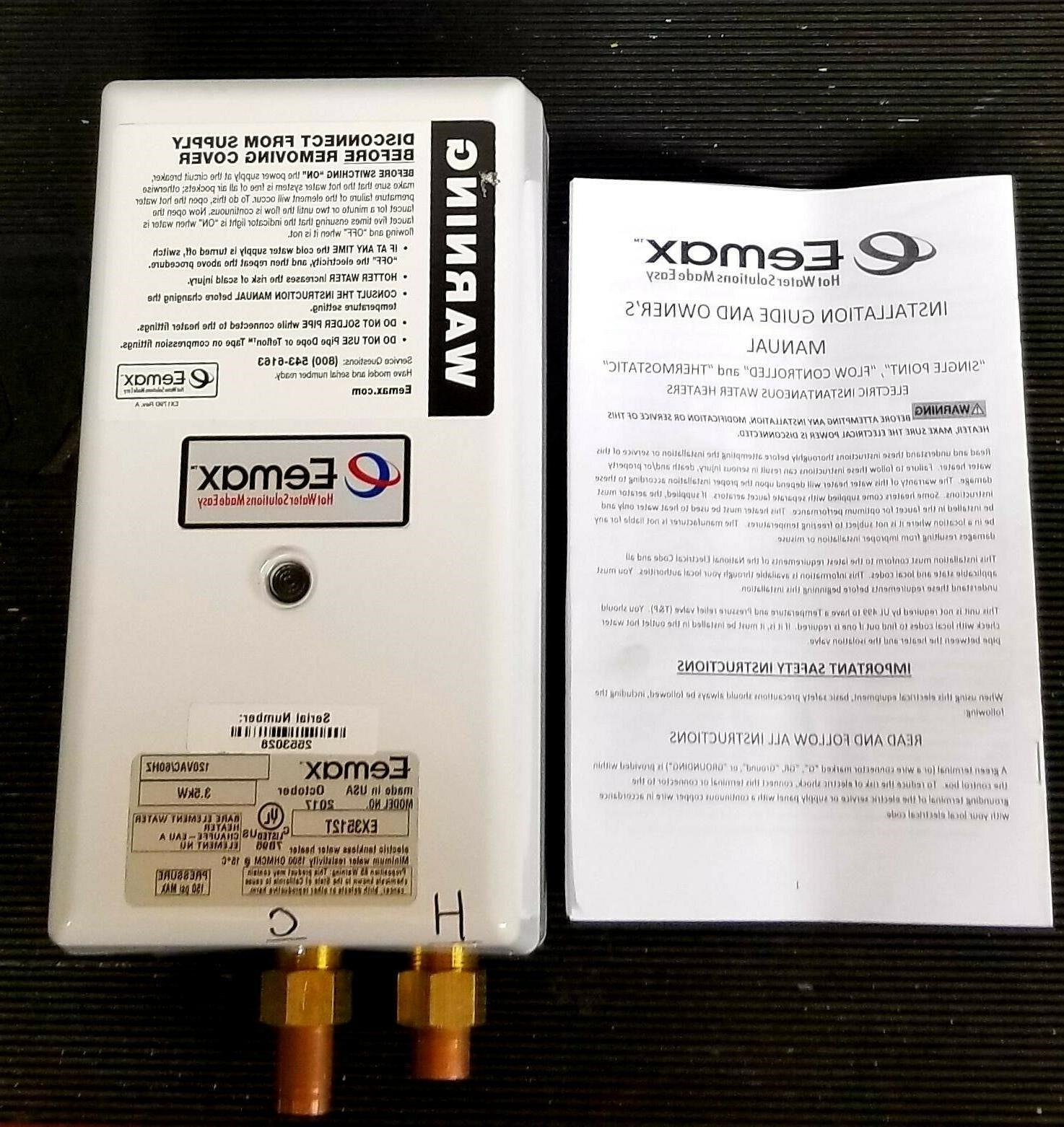 tankless electric water heater ex3512t 120 volt