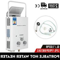 Portable Tankless Hot Water Heater 6L Propane Gas LPG W/Show